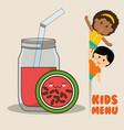 kids menu children watermelon juice diet vector image vector image