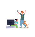 kids playing video games vector image vector image