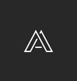 Letter A logo monogram design thin line hipster