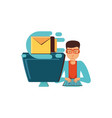 man with desktop computer and envelope mail vector image vector image