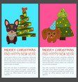 merry christmas with dogs vector image vector image