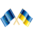 object eu ukraine flags vector image