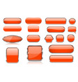 orange glass buttons collection of 3d icons with vector image vector image