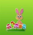 Paper card with rabbit and easter egg vector | Price: 1 Credit (USD $1)