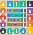 pin bowling icon sign Set of twenty colored flat vector image