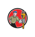 Plumber Presenting Monkey Wrench Circle Cartoon vector image vector image