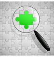 puzzle and magnifier vector image vector image