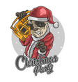 santa claus panda love music vector image