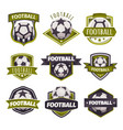 set of logos emblems on the theme of soccer vector image vector image