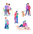 set of young couples vector image