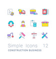 set simple line icons construction business vector image vector image
