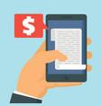 smartphone receipt bill vector image