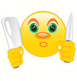 smiley with knife in hand vector image vector image