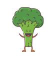 smiling broccoli character mascot vector image