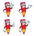 Smiling cartoon pencils set vector image vector image