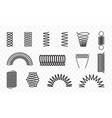 spiral springs different shapes line icons vector image