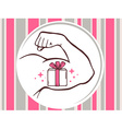 strong man hand with icon of gift box on vector image vector image