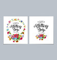 template happy mothers day cards with calligraphy vector image