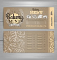 vintage bakery menu design on cardboard vector image vector image