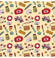 Wallpaper medical objects color seamless pattern vector image