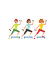 young girls doing fitness exercise using dumbbells vector image vector image