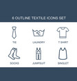 6 textile icons vector image vector image