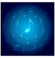 blue background with spiral music staff vector image vector image