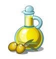 Bottle of olive oil and two green olives with leaf vector image vector image
