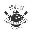 bowling tournament league vintage label black and vector image vector image