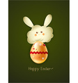 bunny face with egg vector image vector image