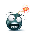 cartoon bomb fuse wick spark icon afraid vector image