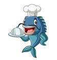cartoon chef fish holding a tray vector image vector image