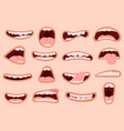 cartoon mouth hand drawn funny comic mouth vector image