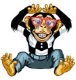 cheerful cartoon chimp with glasses vector image vector image