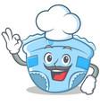 chef baby diaper character cartoon vector image