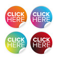 click here label button vector image vector image