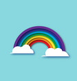 color rainbow with clouds in paper cut style vector image vector image