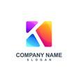 colorful letter k logo design vector image vector image