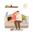 couple in love on sofa calm vector image vector image