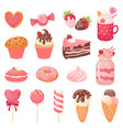 cute valentines sweets heart lollipop sweet ice vector image vector image