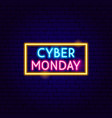 cyber monday neon sign vector image