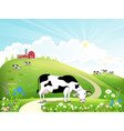dairy farm and a herd of cows on a beautiful vector image vector image