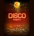 disco ball background neon sign disco party vector image vector image
