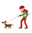 Elderly man walking with his dog vector image vector image