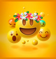 emoji with wreath flowers on head vector image vector image