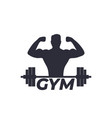 fitness gym logo with strong athlete and barbell vector image