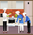 flat colored cooking people composition vector image