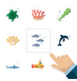 flat icon nature set of octopus tortoise playful vector image vector image