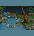 forest scene with waterfall and trees at night vector image vector image