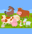 funny farm animal characters group vector image